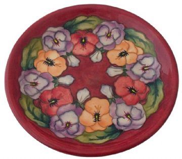 Moorcroft Pottery Pansy Flotal Plate By Rachel Bishop